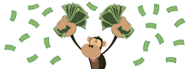 Monkey showering in cash